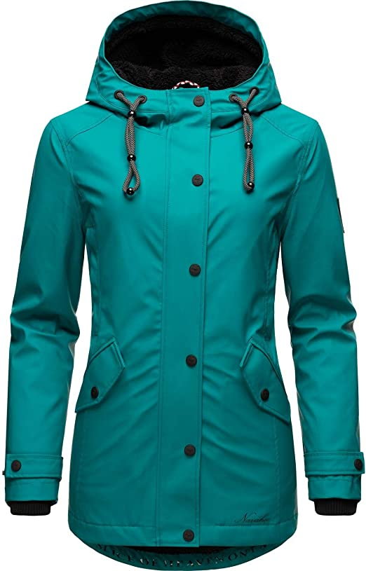 Navahoo Damen Regen Jacke lang Regenmantel Kurzmantel Outdoor Mantel Parka wasserdicht mit Kapuze Delishaa XS-3XL