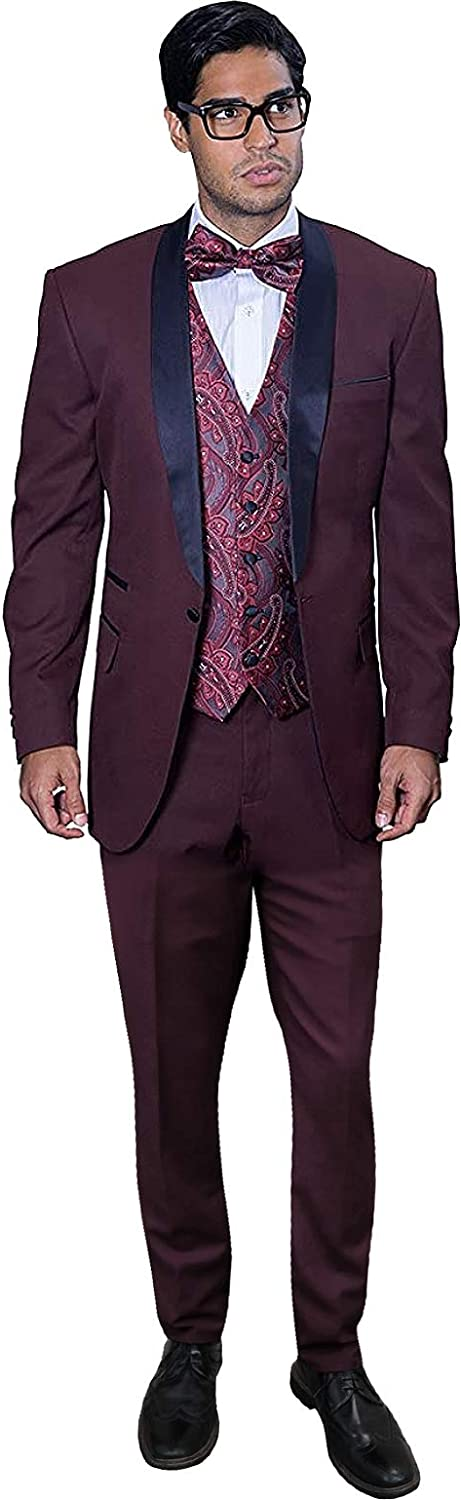 Statement Capri Burgundy 3PC Men's Suit Tuxedo with A Vest and Matching Bow TIE