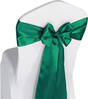 Hunter Green Satin Chair Sashes Ties - 50 pcs Wedding Banquet Party Event Decoration Chair Bows (Hunter Green, 50)