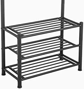Yaheetech 18 Hooks Metal Clothes/Hat Hanger Tree Hall Stand Coats Rack/Stand with Shoes Storage Shelves Black