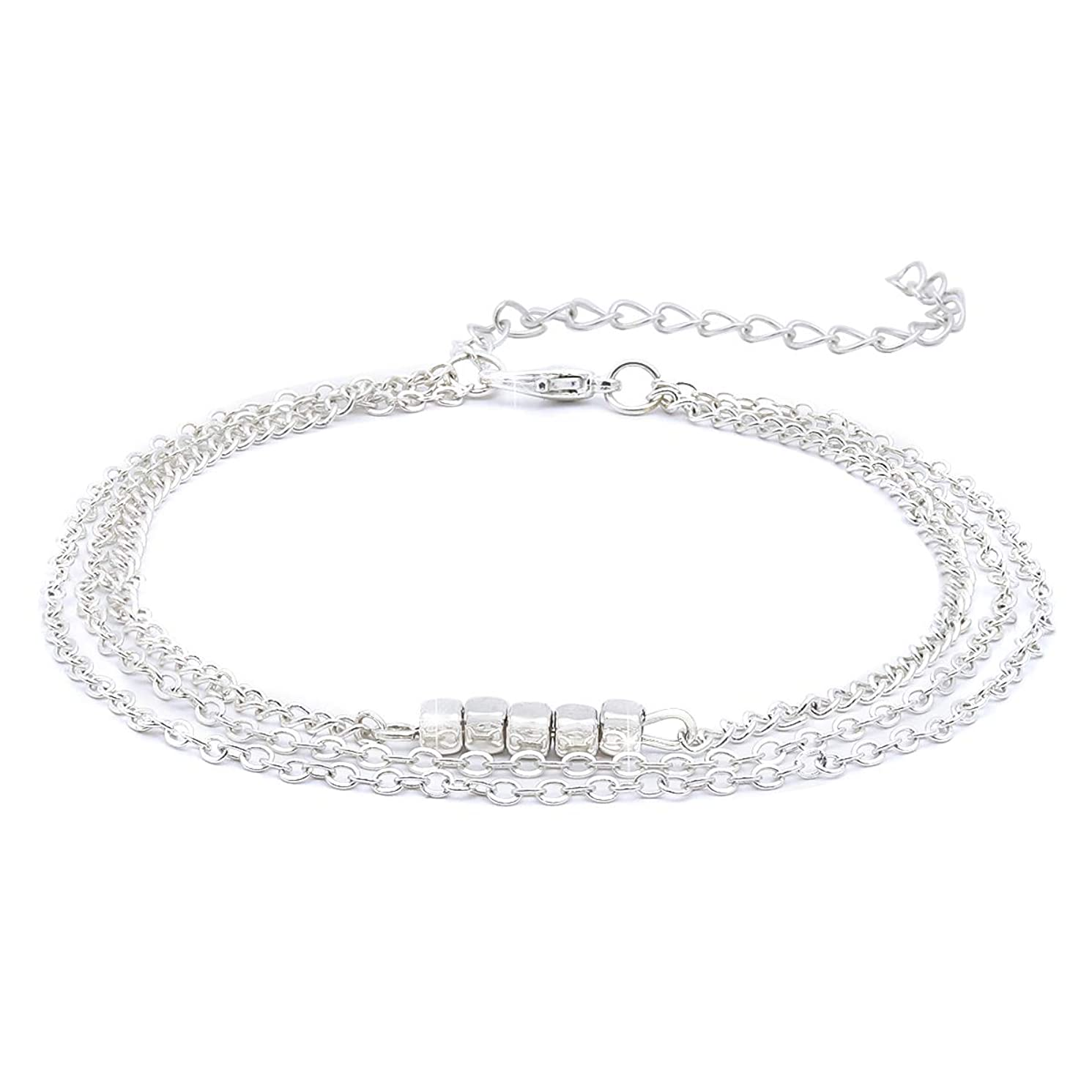 Crazy Feng Ankle Sterling Silver 14K Gold Adjustable Beach Anklet Bracelet Multi-Layer Foot Jewelry Set for Women,Girls