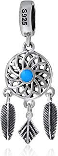 Dream Cather Charm 925 Sterling Silver Wing Charm Feather Charm for Pandora Bracelet (A)