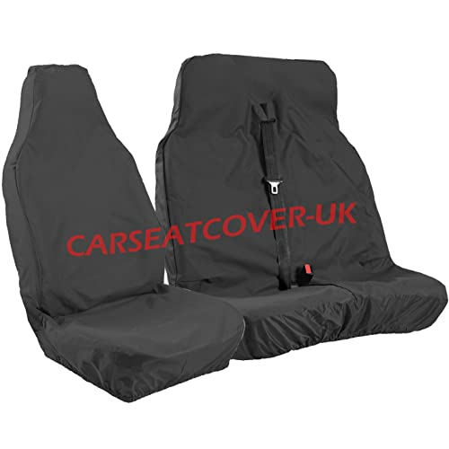 BLACK//RED DELUXE VAN SEAT COVERS SINGLE DOUBLE MERCEDES SPRINTER