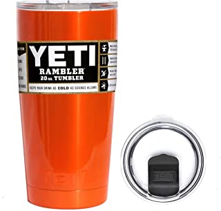 YETI Coolers 20 Ounce (20oz) (20 oz) Custom Powder Coated or Hydro Dipped Rambler Tumbler Travel Cup Mug Bundle with New Magslider Spill Proof Lid (Orange Shimmer)