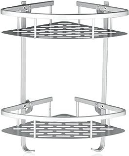 Lancher Bathroom Shelf (No Drilling) Durable Aluminum 2 Tiers Shower Shelf Kitchen Storage Basket Adhesive Suction Corner Shelves Shower Caddy - coolthings.us