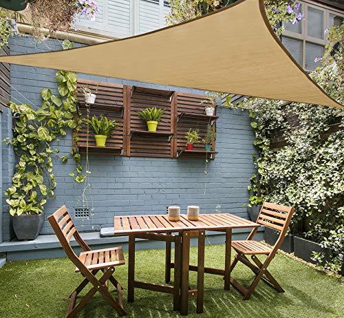 LOVE STORY 12' x 12' x 12' Triangle Sand Sun Shade Sail Canopy UV Block Awning for Outdoor Patio Garden Backyard
