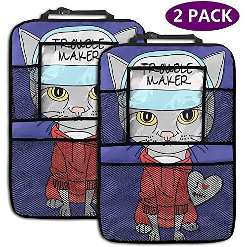 Overlooked Shop Kitty Car Backseat Organizer Seat Protector Accessoires de Voyage pour Enfants et Tout-Petits (Pack de 2)