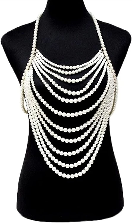 XYMJ Unique Multilayer Imitation Pearl Sexy Chest sale Body Ne Chain latest