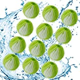 Pet Hair Remover for Laundry , Pet Hair Dryer Reusable Balls Lint Remover Washing Balls for Laundry - Pack of 12 (White Green)