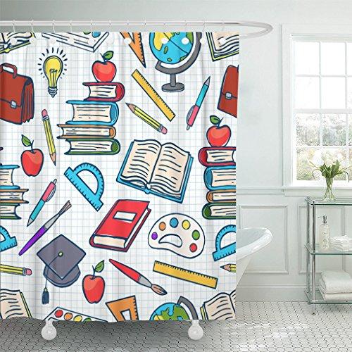 Emvency Duschvorhang, blau, Kinderfarbiges Schulbedarf, Globusfarben & Pinsel, wasserdichtes Polyestergewebe, 152,4 x 182,9 cm, Set mit Haken