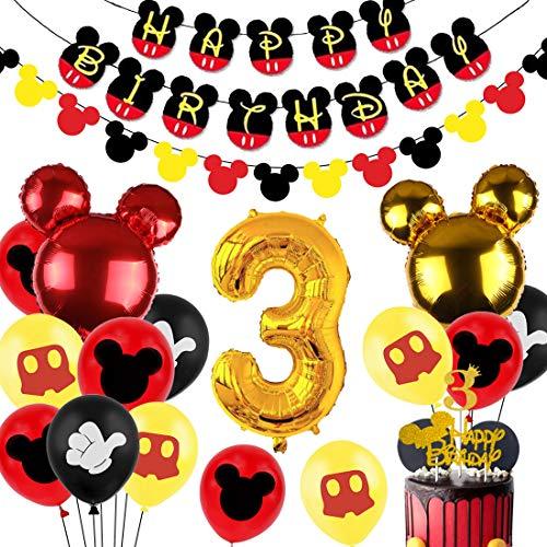 Fangleland Decorazioni per Feste di Compleanno a Tema Topolino a Tema 3 Bambini Banner di Compleanno di Topolino Ghirlanda Numero 3 Palloncino Foil per Topolino Forniture per Compleanni di 3 Anni