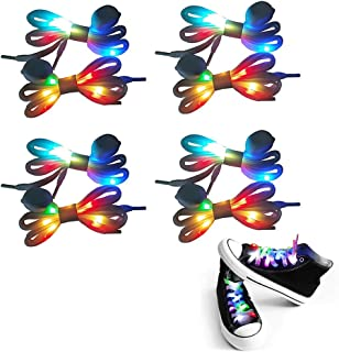 LED Light Up Shoelaces with Multicolor Flashing for Party Hip-hop Dancing Cycling Hiking Skating Waterproof