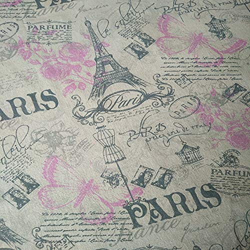 Sheicon Paris Eiffel Tower Print Fabric by The Yard 60' Wide French Romance Vintage Decorative Fabric for DIY Projects and Tablecloth Making Color Tower Butterfly Size 1 Yard