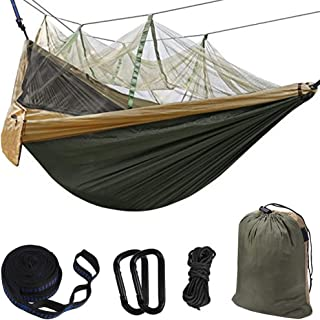 Hammock Camping Single & Double with Mosquito/Bug Net and Tree Straps & Carabiners   Easy Assembly  lightweight Portable Parachute Nylon Hammock for Camping, Backpacking,Travel