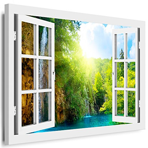 BOIKAL XXL48-5 Fensterblick Leinwand bild 3D Illusion - Fertig Gerahmte Bilder kein Poster - Wandbild 100 x 80 cm Weiß - Farbe Große 21 Variante wählbar - Fenster Kunstdruck Landschaft Wasserfall Berg, Wald, Bäume