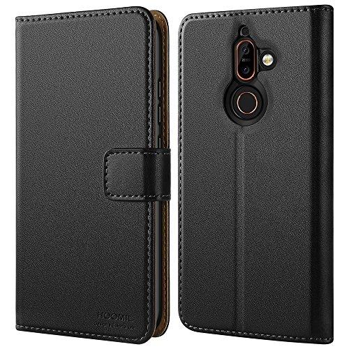HOOMIL Cover Nokia 7 Plus, Flip Caso in Pelle Premium Portafoglio Custodia per Nokia 7 Plus (H3274, Nero)