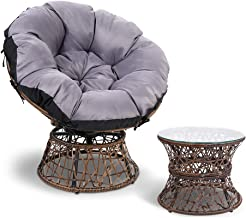 Gardeon Swivel Papasan Chair Indoor Outdoor Furniture Lounge with Padded Seat-Brown