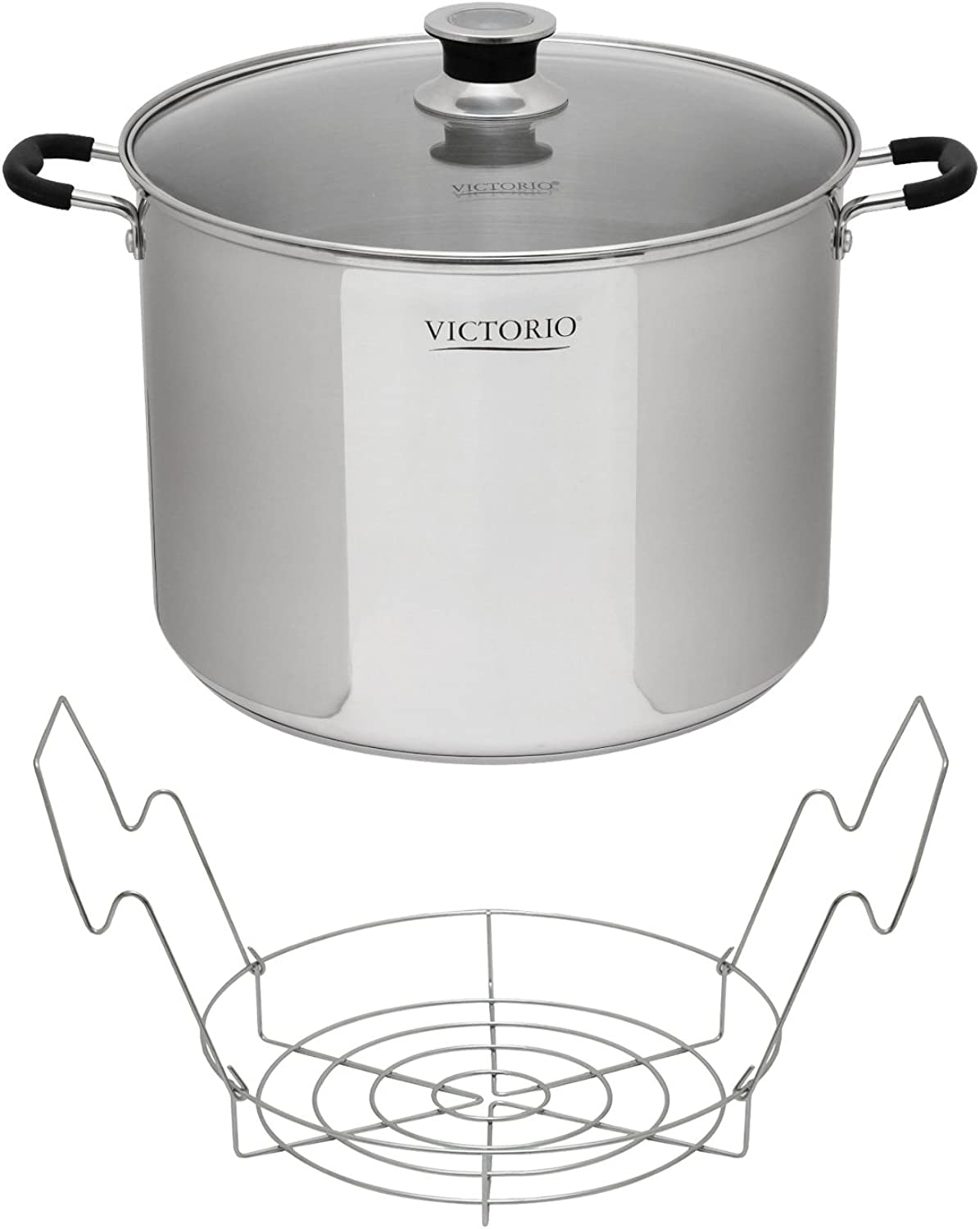 Victorio VKP1130 Stainless Steel Multi-Use Canner with Temperature Indicator w  Stainless Steel Canning Rack
