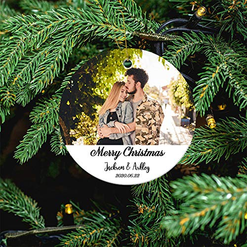 Custom Photo Ornament for Christmas Tree, 2020 Christmas Double-Sided Printed Personalized Decoration Wedding Holiday Xmas Family & Friends Gift for Newlyweds, Baby Showering