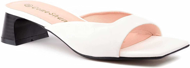 ComeShun Women Low Block Heels Comfort Slip On Mules Chunky Slide On Sandals