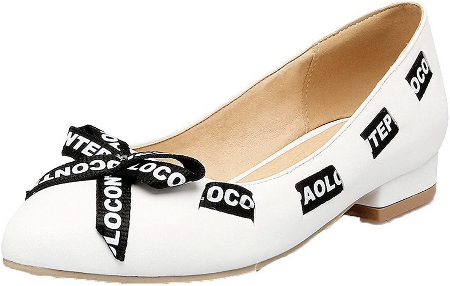 AmoonyFashion Women's Pu Low Heels Round Closed Toe Assorted color Pull On Pumps-shoes