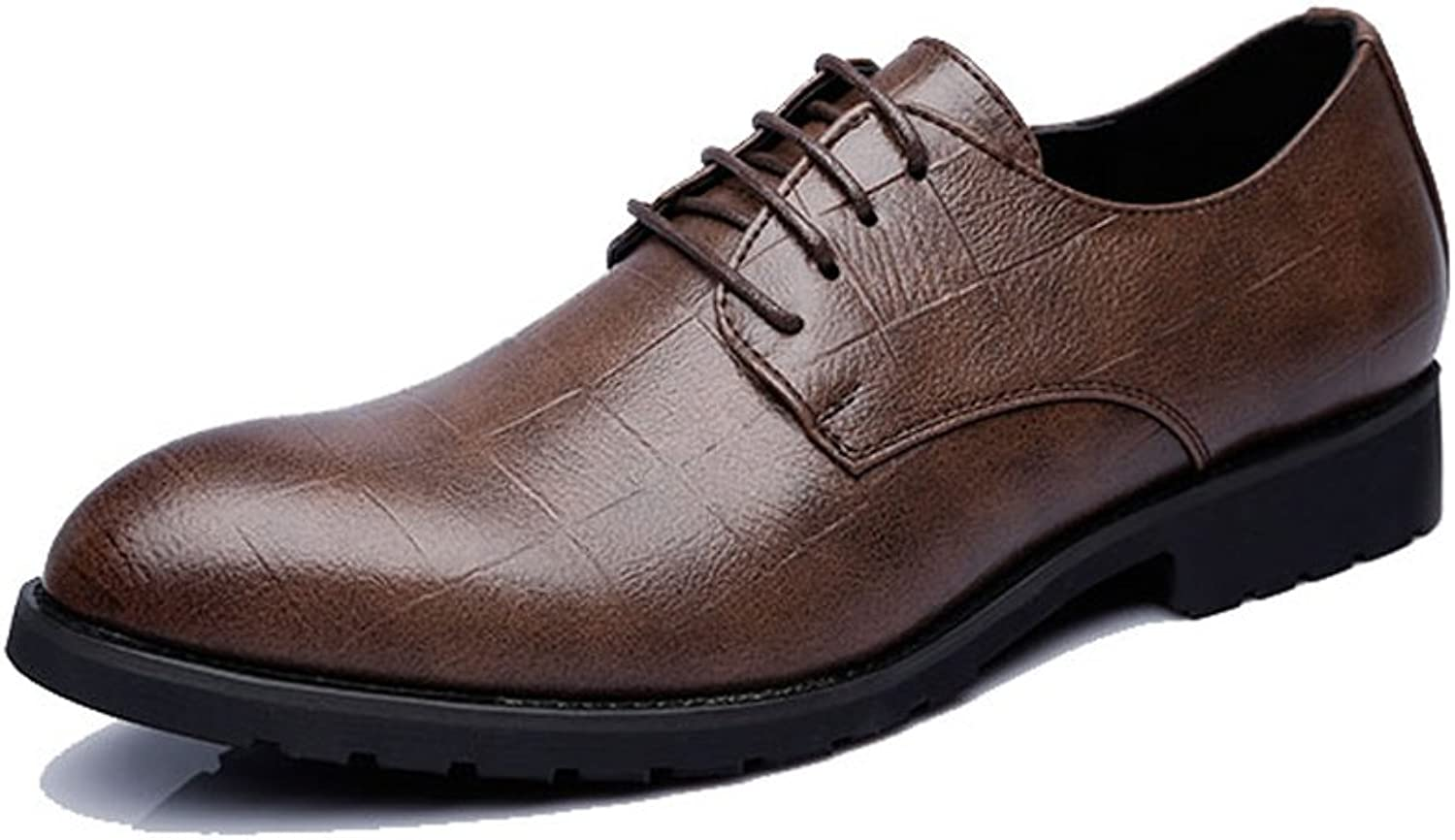Men's Business PU Leather shoes Classic Lace Up Loafers Square Texture Low Top Oxfords (color   Darkbrown, Size   9.5 UK)
