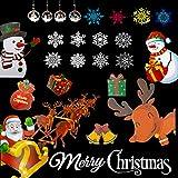 30 Piezas de Adhesivos de Ventana de Navidad con patrón de Dibujos Animados de Navidad, sin rastros, Pegatinas de Ventana de Copo de Nieve de Navidad para Suministros