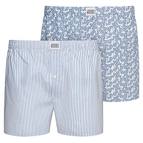 Jockey Everyday Woven Boxer 2Pack, White, M,M,Weiß