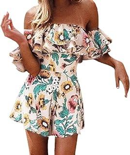 Topgee Women Romper Summer Casual Short Sleeve Elastic Waist Jumpsuit Pajamas