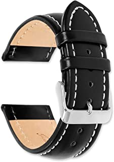 deBeer Breitling Style Oil Tanned Leather Watch band - Choice of colors & widths (Black, Brown, or Havana) (14mm, 16mm, 18mm, 19mm, 20mm, 22mm or 24mm)