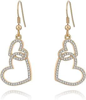 Orecchino a pendente per donna, orecchino a goccia a cuore legato Orecchini a catena in oro o argento con orecchino di cri...