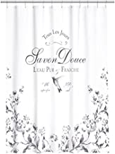 Water Repellent Fabric Shower Curtain French Vintage Old Fashion White and Black by