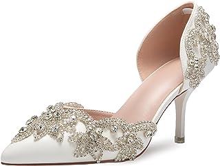 "Women's Stiletto High Heel Dress Pumps Pointy Toe Bridal Wedding Evening Party Shoes with Rhinestone, 3.15"" Heel"