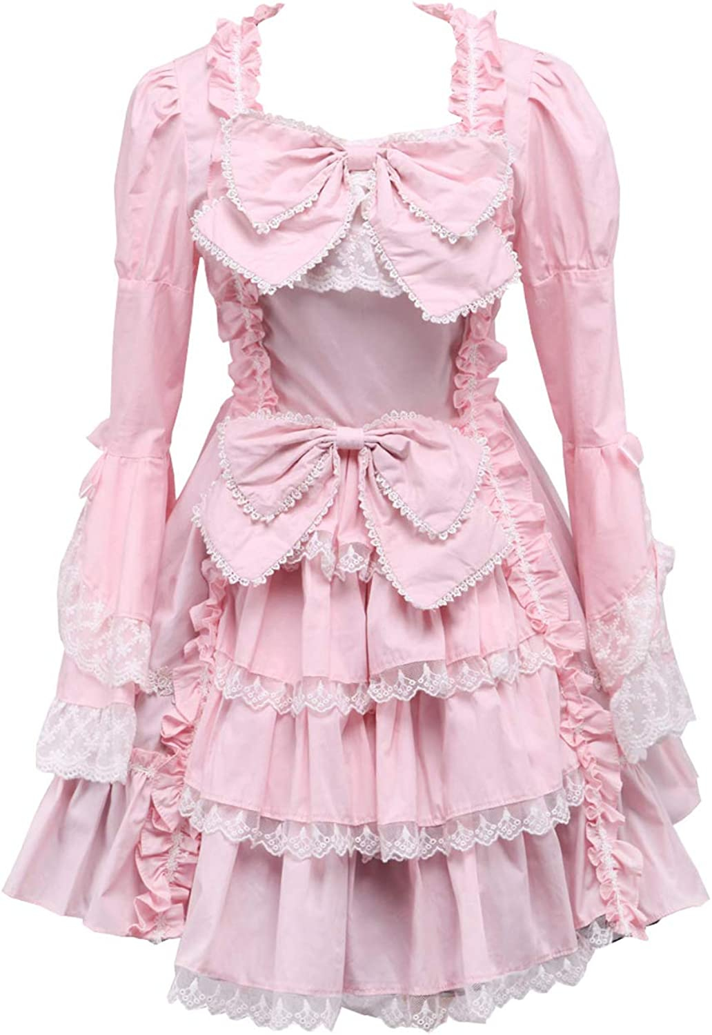 Antaina Pink Cotton Ruffle Bows Lace Luxury Victorian Lolita Cosplay Dress