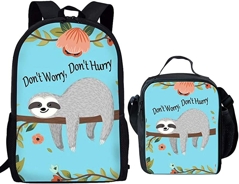 Showudesigns Bookbags And Lunch Boxes For Girls Funny Sloth Don T Worry Print Kids Backpack With Water Bottle Holder School Bag Set For Junior Primary Student