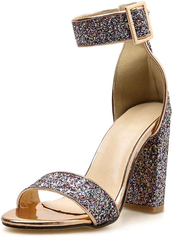 LXJL Damen Open Toe Thick-Toe Spitze Sandalen Mode Joker Party Schuhe,39