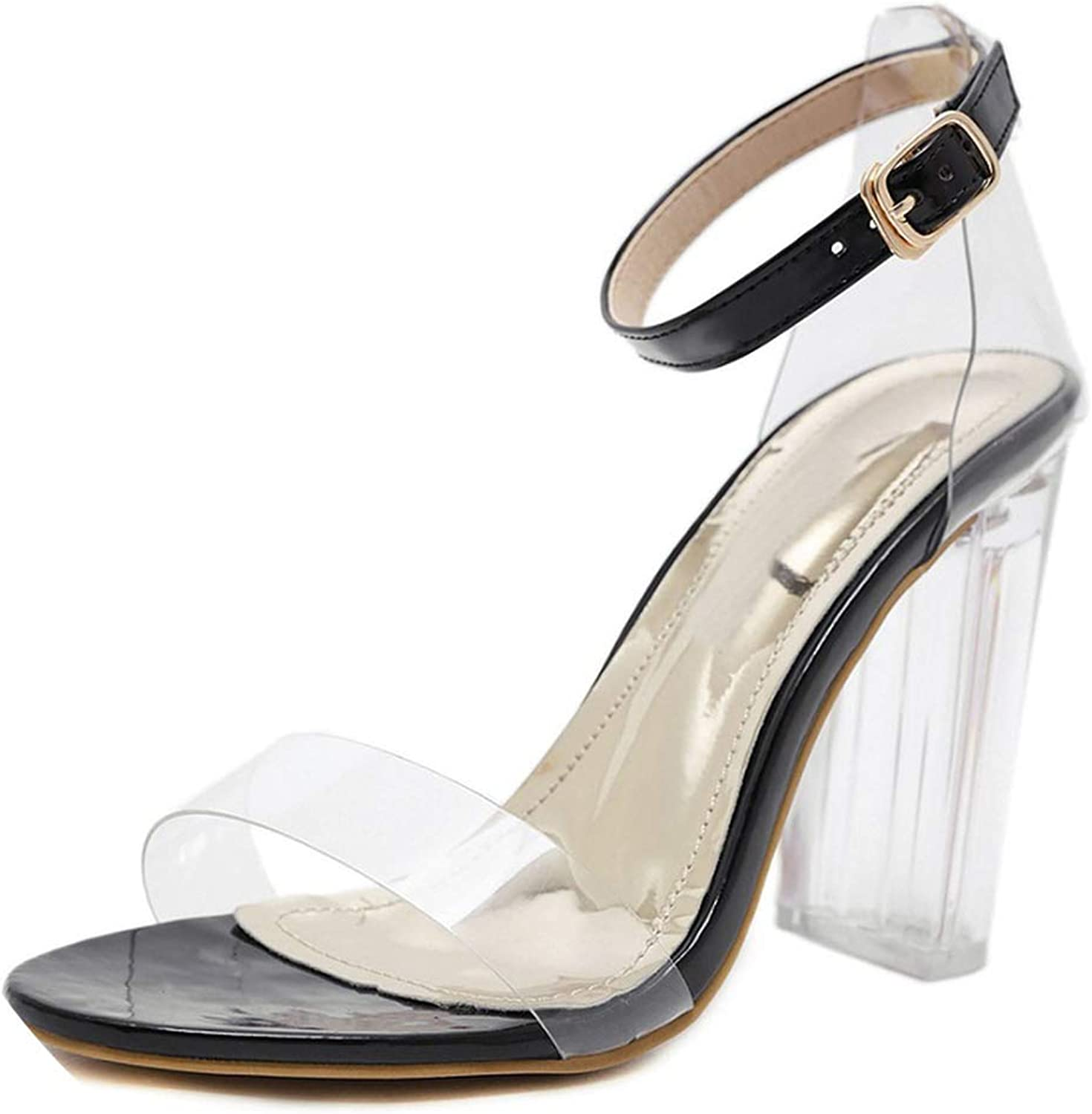Mebake Summer PVC Female Sandals Party Shallow Mouth Transparent Pointed High Heels Bare Strap with Crystal Sandals