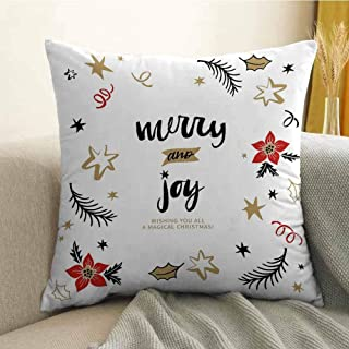 FreeKite Joy Silky Pillowcase Christmas Themed Flowers Swirls Stars Celebratory Arrangement Merry Illustration Super Soft and Luxurious Pillowcase W20 x L20 Inch Camel Red Black