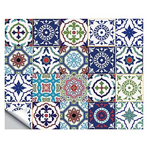 WANGXL Pegatinas De Azulejos De Mosaico Azul Autoadhesivas De Estilo Mexicano para DecoracióN De Cocina De BañO, CalcomaníA Impermeable para Azulejos De Pared