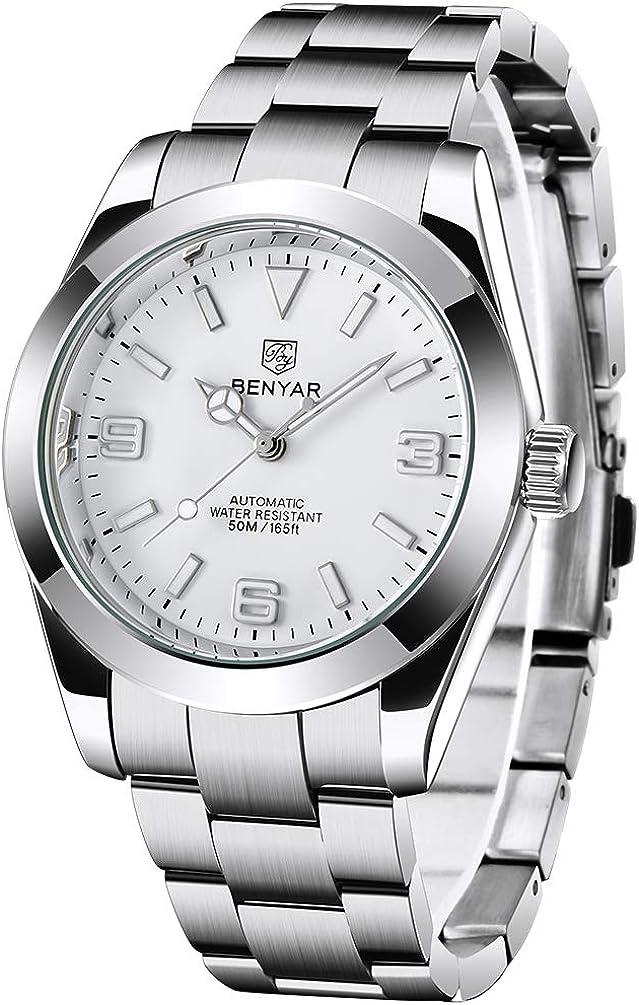 BENYAR Relojes automáticos de Moda para Hombres Relojes de Pulsera de Negocios de Acero Inoxidable para Hombres Relojes mecánicos Impermeables para Hombres Relojes Deportivos Luminosos para Hombres…