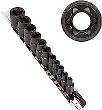 CASOMAN 11 PC Female E-TORX Star Socket Set with Rail, Female External Star Socket Set,..
