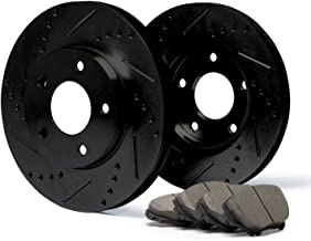 (Front) E-Coated Slotted Drilled Rotors w/Ceramic Pads Elite Brake Kit CP052681   Fits: 2006 06 Mitsubishi Lancer Ralliart Models w/ 5 Lugs Rotors