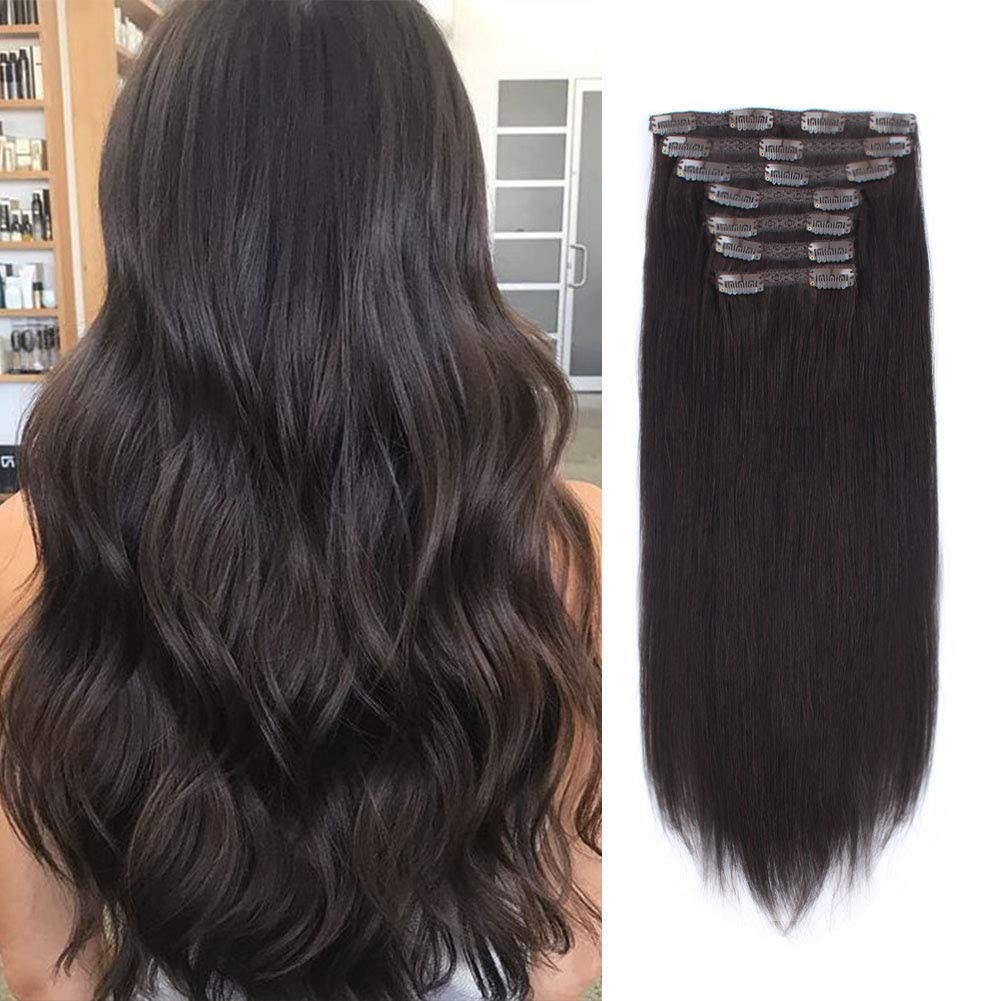 Lovrio 9A Grade Outlet ☆ Free Shipping Clip in Hair Philadelphia Mall Color Double W Off Black Extensions