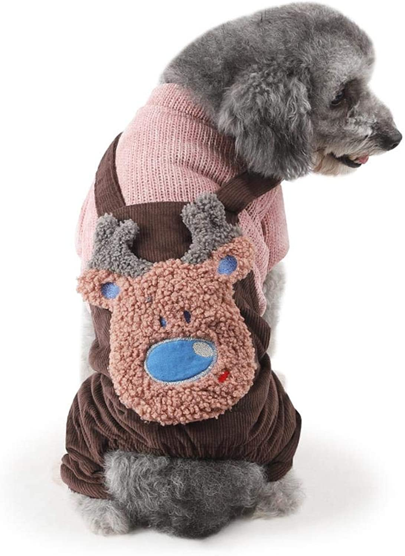 Pet Dog FourLegged Winter Clothes DoubleLayer Jacket Corduroy Cute Strap Cotton Coat,Brown,XXL