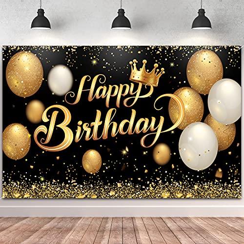 Decoración de pancarta de cumpleaños grande, póster de oro negro, para hombre, mujer, 30, 40, 50, 60, 70, 80, aniversario, fiesta, decoración de 180 x 115 cm