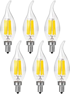 TaoTens Dimmable LED Candelabra Bulb 60W Equivalent, 2700K Warm White, 6W Chandelier LED Filament Light Bulbs 520Lumens, E12 Base, CA10 Decorative Candle Bulb (Pack of 6)