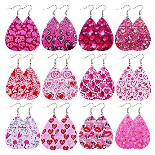 12 pares de pendientes para el día de San Valentín para mujeres y niñas, pendientes de piel con estampado de corazón, pendientes de lágrima, kit de joyería para regalo