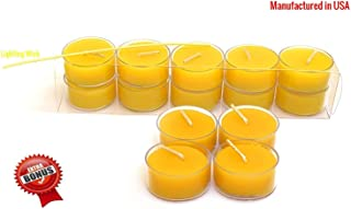 100% Pure Original Refined Beeswax Tea Light Candles with Spacial Chemical Free 100% Cotton/Beeswax Wick *BOUNS* Get a free DRIPLESS beeswax lighter Wick