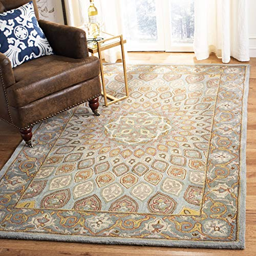 Safavieh Heritage Collection HG914B Handcrafted Traditional Oriental Blue and Grey Wool Square Area Rug (10' Square)