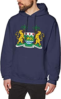 X-JUSEN Men's Coat of Arms of Sierra Leone National Emblem Hoodies Sweatshirt Pullover Sweater, Crew Neck Hooded Clothing Suits